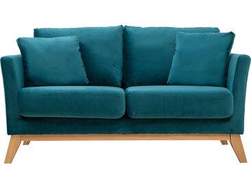 Canapé scandinave 2 places déhoussable velours bleu pétrole OSLO