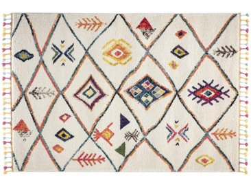 Tapis style berbère avec pompons multicolore 200 x 290 cm MEDINA