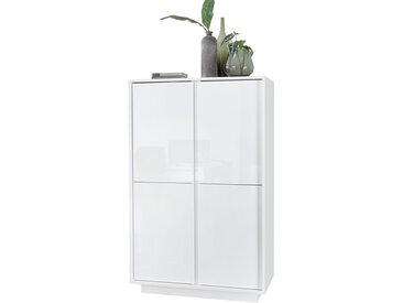 Buffet haut design avec portes laquées blanc brillant COMO