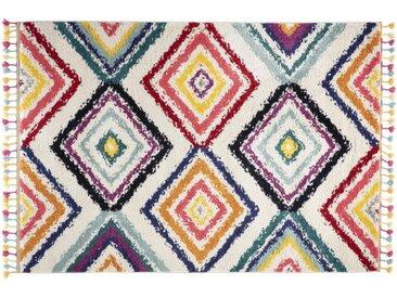Tapis style berbère avec pompons multicolore 200 x 290 cm JEMAA