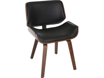 Chaise design noire et bois foncé noyer RUBBENS