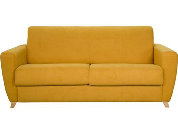 Canapé convertible scandinave effet velours jaune moutarde GRAHAM