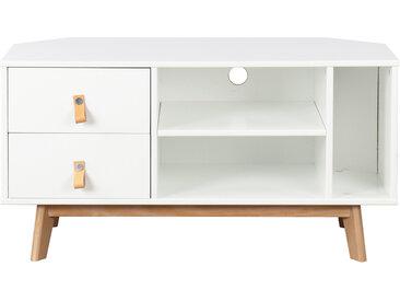 Meuble TV d'angle scandinave avec tiroirs blanc et bois ROHAN