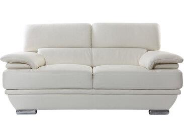 Canapé cuir 2 places avec têtières ajustables blanc cassé EWING - cuir de buffle