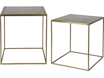 Tables gigognes design métal laiton (lot de 2) ERINE