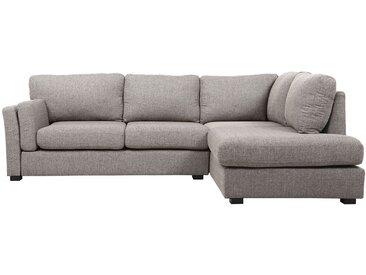 Canapé d'angle droit design 5 places tissu gris MILORD