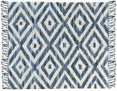 Tapis ethnique en coton bleu et blanc 160 x 230 cm ACANTE