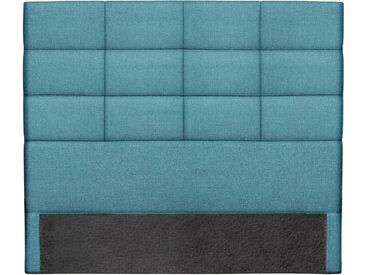Tête de lit moderne en tissu bleu canard 140 cm ANATOLE