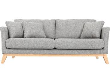 Canapé scandinave 3 places gris clair déhoussable pieds bois OSLO