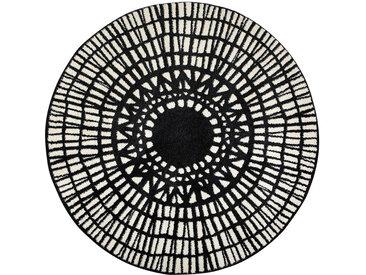 Tapis rond graphique noir D160 cm OLAPA