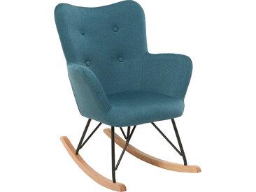 Rocking chair enfant tissu bleu canard pieds métal et chêne BABY BRISTOL