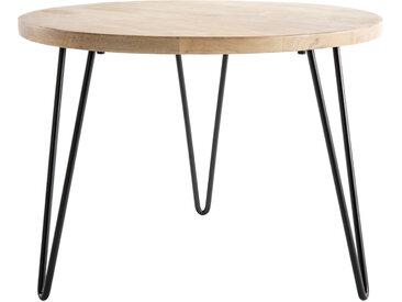 Table d'appoint ronde manguier massif et métal L60 x H45 cm VIBES