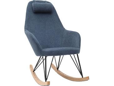 Rocking chair en tissu effet velours bleu avec pieds métal et bois JHENE