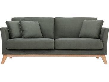 Canapé scandinave 3 places déhoussable tissu effet velours kaki OSLO - Miliboo & Stéphane Plaza