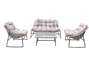 Salon de jardin en résine tressée gris avec table basse COMFY