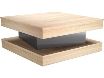 Table basse design avec tiroir finition chêne et laquée gris brillant LEGO