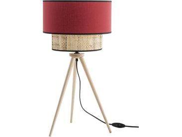 Lampe à poser bimatière jute et tissu rouge CHILL