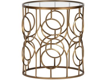 Table d'appoint laiton antique et verre D40 cm ARTSY