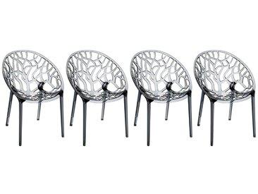 Chaises design empilables transparentes fumées (lot de 4) ARBOL
