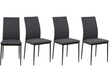Chaises design en tissu gris anthracite (Lot de 4) LUCKY