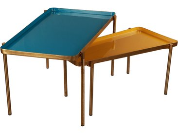 Tables basses gigognes laquées bleu canard et moutarde (lot de 2) ZURIA
