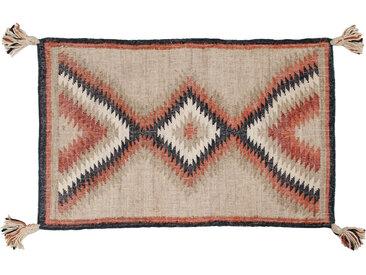 Tapis kilim tissé main en jute avec pompons 160 x 230 cm DAKOTA
