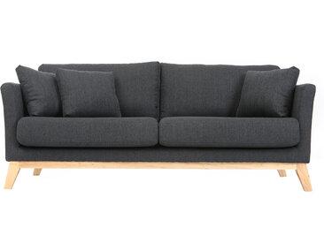 Canapé scandinave 3 places déhoussable gris foncé et pieds bois OSLO