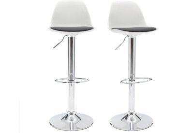 Tabourets de bar design blanc et noir (lot de 2) STEEVY