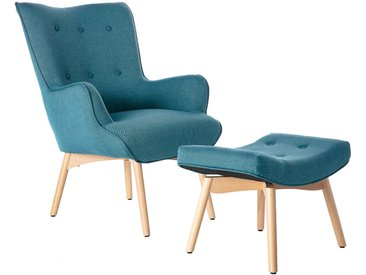 Fauteuil design scandinave et son repose pied bleu canard et bois clair BRISTOL