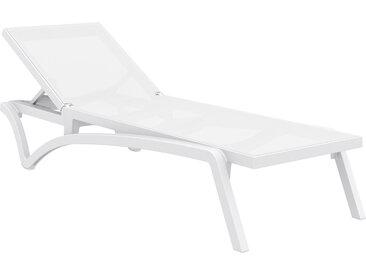 Chaise longue ajustable blanche à roulettes CORAIL