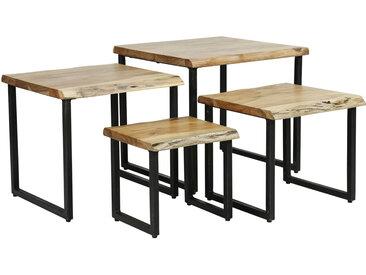 Tables basses gigognes en acacia massif et métal noir (lot de 4) DEVI