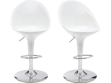 Tabouret de bar / cuisine blanc design OEUF (lot de 2)
