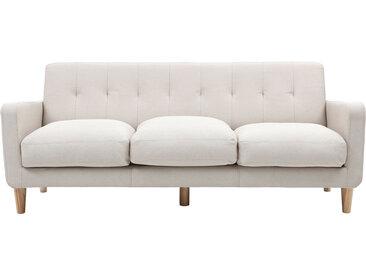 Canapé design scandinave tissu coloris naturel 3 places LUNA