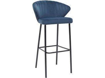 Tabouret de bar design velours bleu 75 cm DALLY