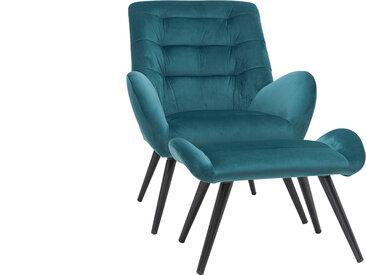 Fauteuil et repose-pieds design en velours bleu pétrole ZOE