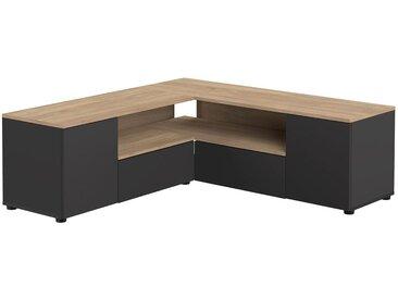 Meuble TV d'angle design noir mat et bois QUADRA