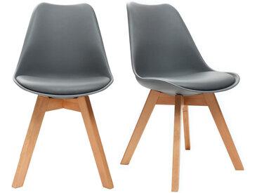 Chaises design grises avec pieds bois clair (lot de 2) PAULINE