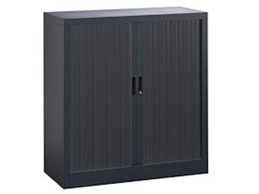 Armoire haute à rideaux démontables 107 x 100 cm corps noir rideaux anthracite