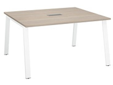 Table de réunion chêne gris L 140 x P 126 cm- piétement métal blanc - Arch