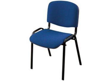 Chaise conférence empilable bleue piétement noir