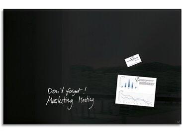 Tableau en verre Noir, magnétique, 2 aimants et fixation fournis, Format : L100 x H65 cm