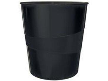 Corbeille à papier WOW, en plastique, 15 litres, noir - Lot de 4