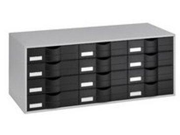 Bloc de classement gris 12 tiroirs noirs