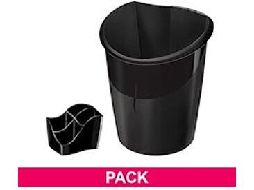 Pack corbeille à papier + multipots Cep Ellypse couleur noir