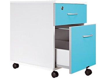 Caisson mobile blanc en bois - 2 tiroirs bleuets
