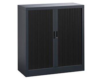 Armoire haute à rideaux démontables 107 x 100 cm corps noir rideaux noirs