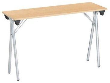 Table pliantes étroite 120x40 cm plateau hêtre - pied alu