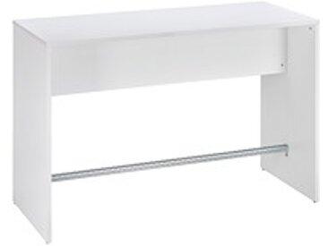Table haute L 160 x P 70 blanche piétement plein 6 places Luego