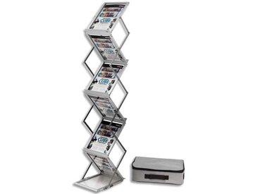Présentoir sur pied pliable aluminium avec malette de transport 6 niveaux pour A4