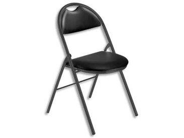 Chaise pliante Arioso en simili cuir noir, 4 pieds tube époxy noir avec patins de protection - Lot de 2